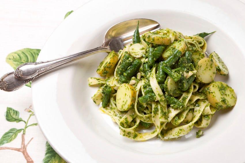 Fresh Pasta with Arugula Pesto, Fingerling Potatoes  & Green Beans