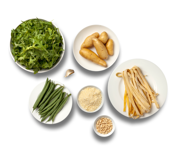 Fresh Pasta with Arugula Pesto, Fingerling Potatoes  & Green Beans