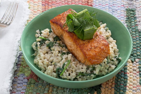 a270af510055 Recipe  Seared Salmon with Sorrel Salad   Creamy Barley - Blue Apron