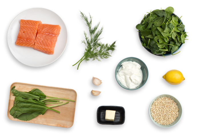 Seared Salmon  with Sorrel Salad & Creamy Barley ingredients