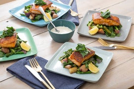 Seared Salmon with Asparagus-New Potato Hash & Lemon Aioli