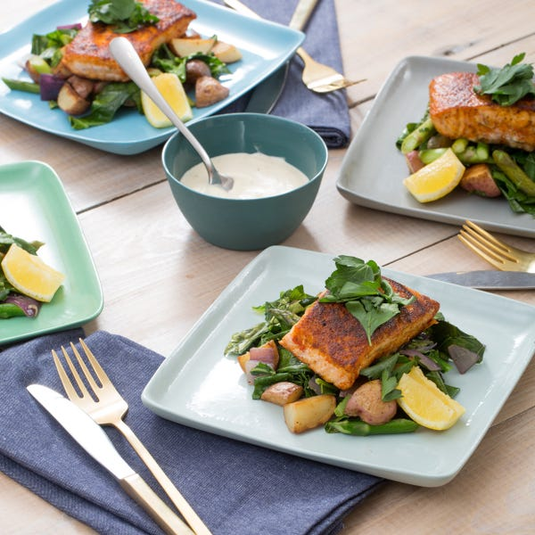 Seared Salmon with Asparagus-New Potato Hash & Lemon Aioli