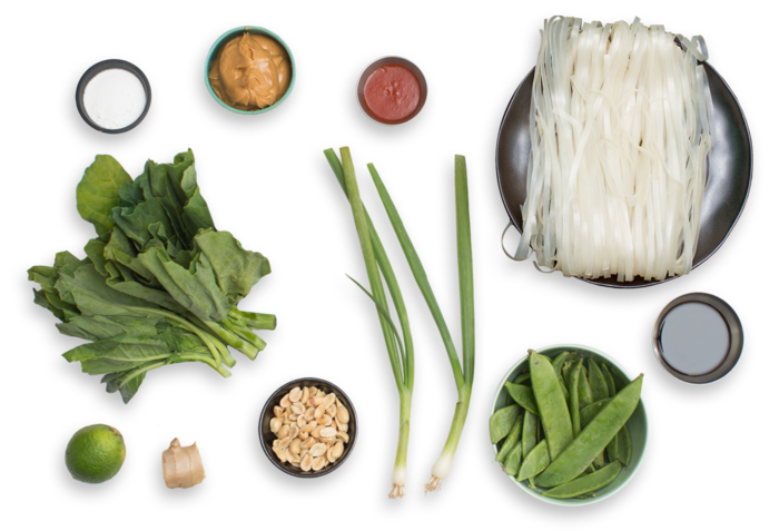 Stir-Fried Noodles with Peanut Sauce, Gai Lan & Snow Peas ingredients