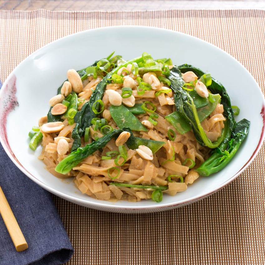 Stir-Fried Noodles with Peanut Sauce, Gai Lan & Snow Peas