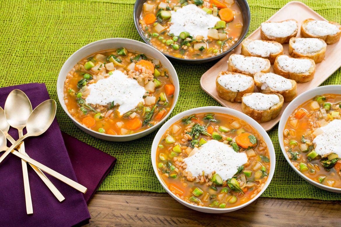 Spring Vegetable Minestrone with Barley & Lemon-Ricotta Toasts