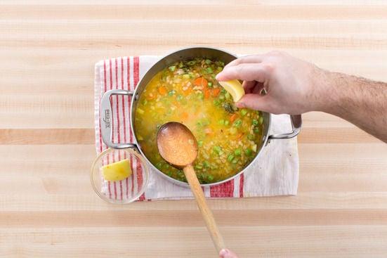 Finish the soup & make the lemon crème fraîche: