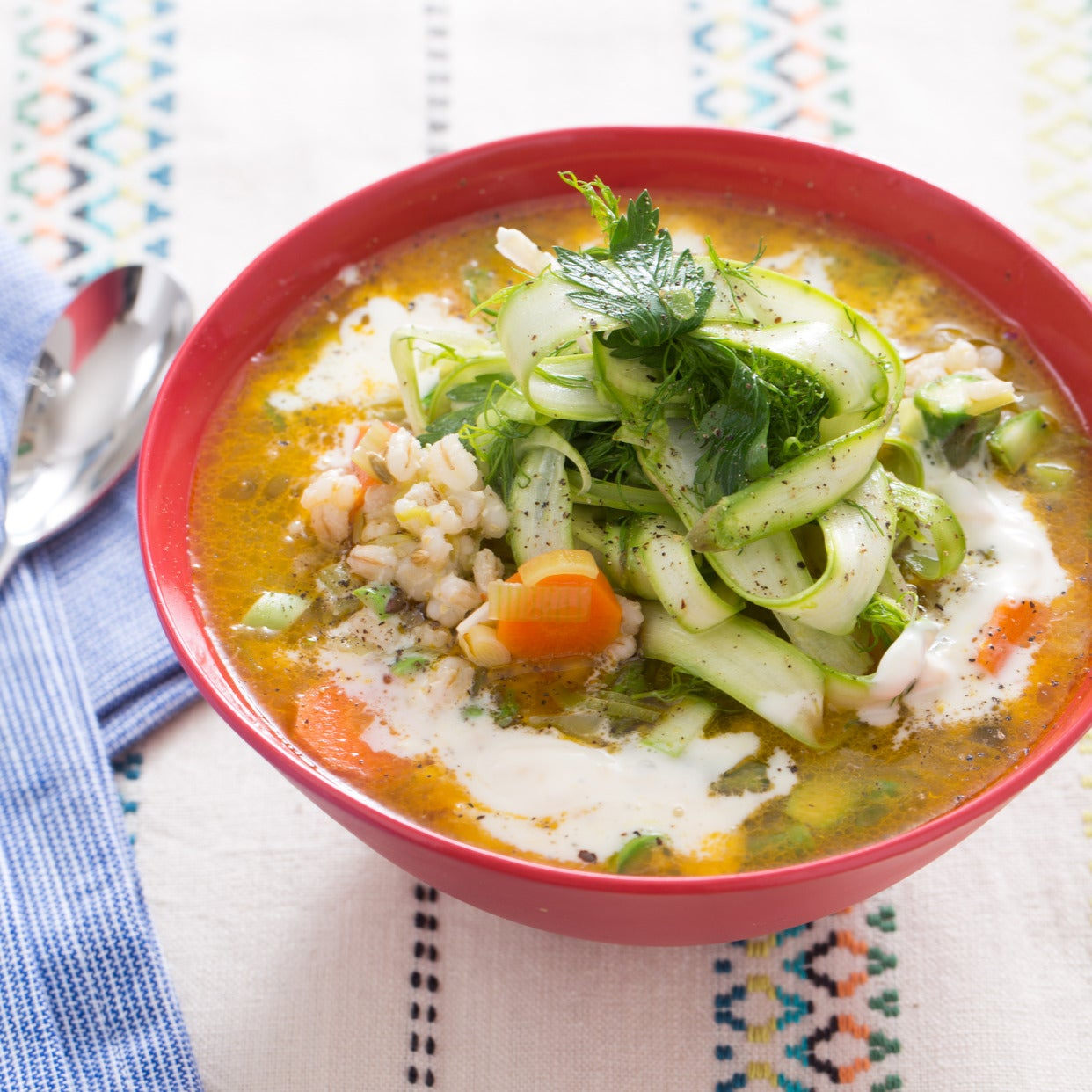 Spring Barley Soup with Green Garlic & Baby Fennel-Asparagus Salad