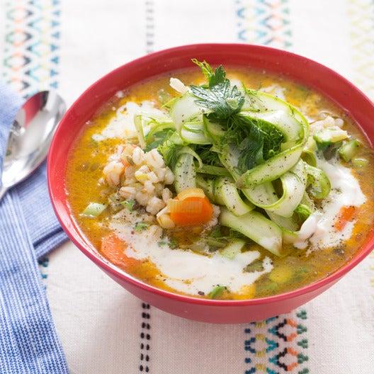 Spring Barley Soup with Green Garlic & Baby Fennel-Asparagus Salad