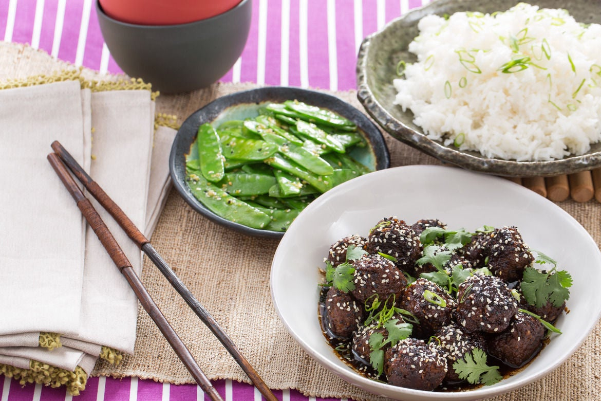 Chinese Five-Spice Meatballs with Snow Peas & Jasmine Rice