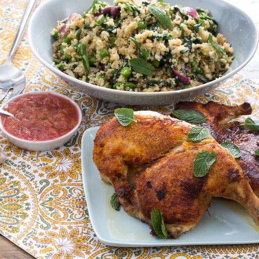 """Chicken """"Under a Brick"""" with Spring Vegetable Quinoa & Rhubarb Compote"""