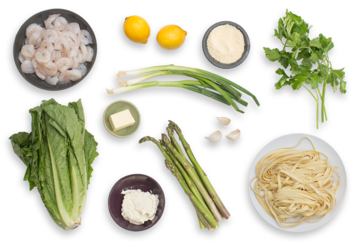 Shrimp Fettuccine Alfredo with Asparagus & Romaine-Parmesan Salad ingredients