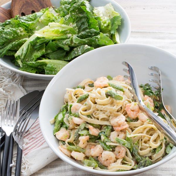 Shrimp Fettuccine Alfredo with Asparagus & Romaine-Parmesan Salad