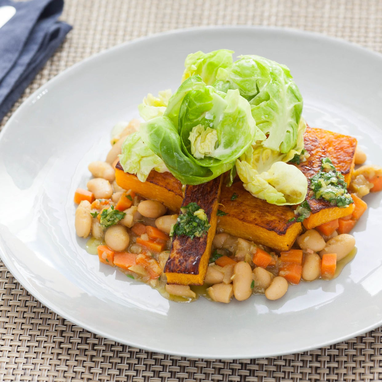 Roasted Butternut Squash with Stewed White Beans, Brussels Sprouts & Gremolata