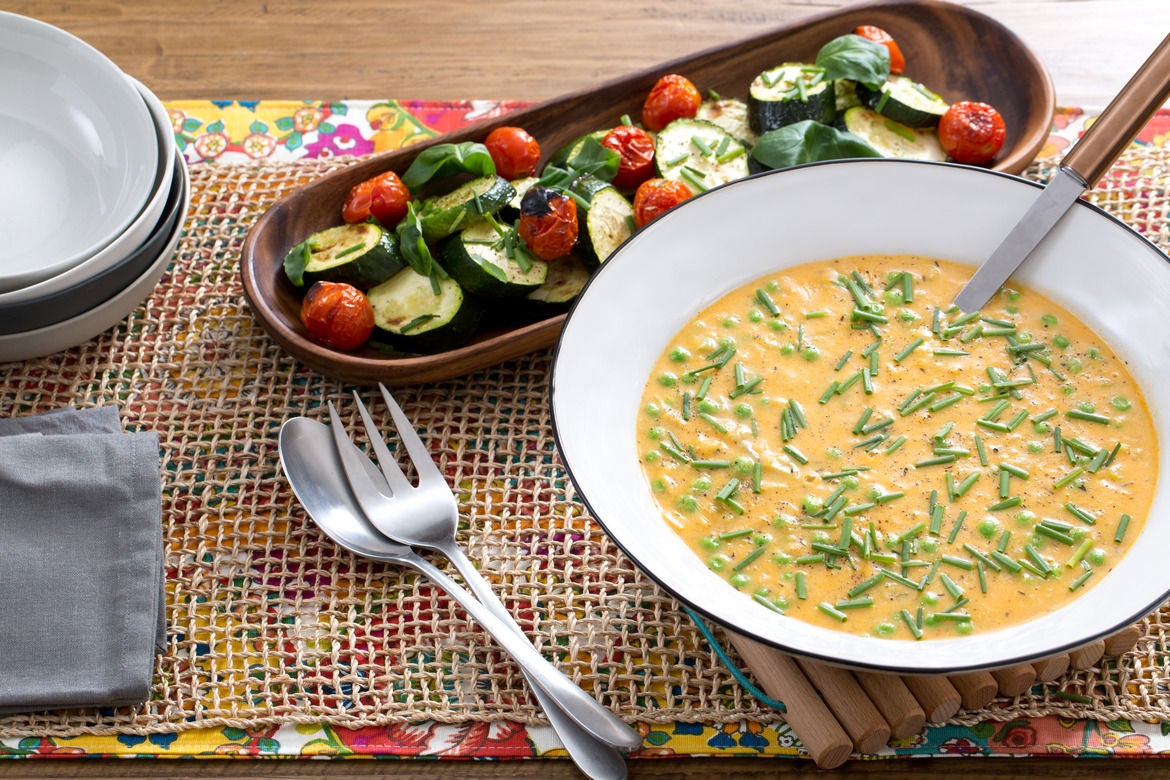 Wisconsin-Style Potato & Cheddar Soup with Roasted Zucchini & Cherry Tomatoes