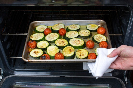 Roast the zucchinis & cherry tomatoes: