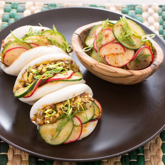 Turkey Steam Buns with Quick Cucumber-Radish Kimchi