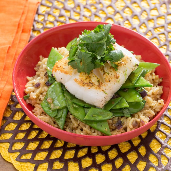 Pan-Seared Cod with Curried Basmati Rice, Snow Peas & Mint