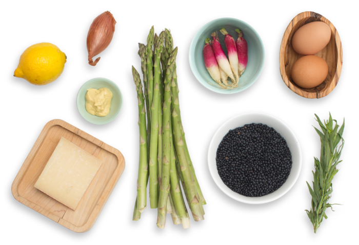 Beluga Lentil & Asparagus Salad with Soft-Boiled Eggs, French Breakfast Radishes & Piave Cheese ingredients