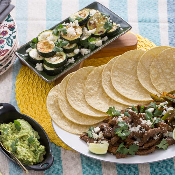 Steak Fajitas with Guacamole & Roasted Zucchini Rounds