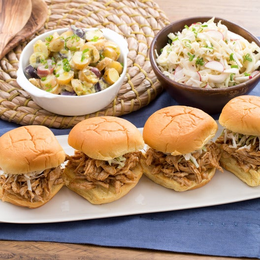 Pulled BBQ Chicken Sandwiches with Fingerling Potato Salad & Creamy Coleslaw