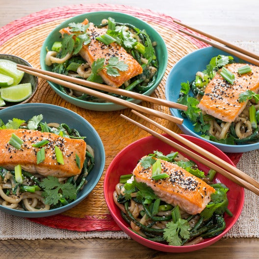 Seared Salmon & Long Beans with Teriyaki Udon Noodles & Yu Choy