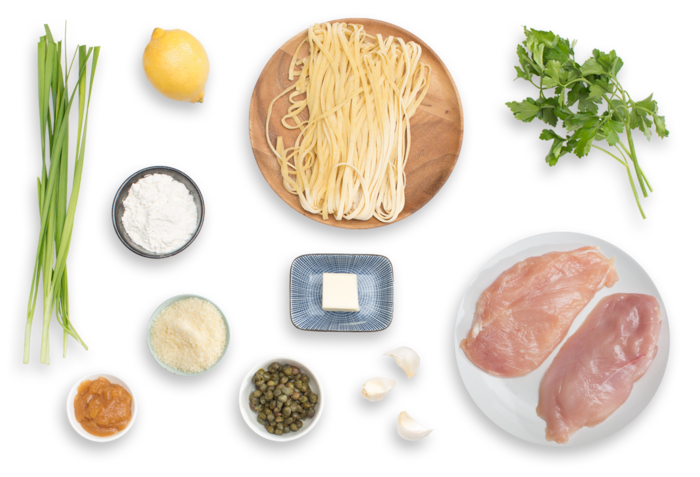 Chicken Piccata with Fresh Linguine Pasta & Garlic Chives ingredients