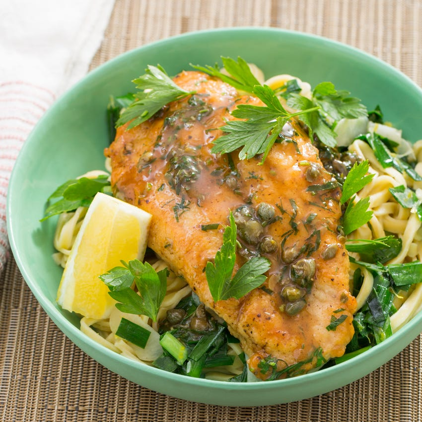 Chicken Piccata with Fresh Linguine Pasta & Garlic Chives