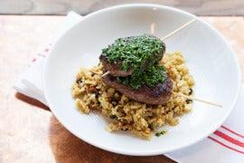 "Merguez-Style Brochettes with Cauliflower ""Couscous"" & Salsa Verde"