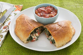 Three Cheese Calzones with Kale & Tomato Sauce