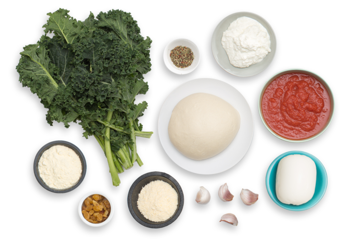 Three Cheese Calzones with Kale & Tomato Sauce ingredients