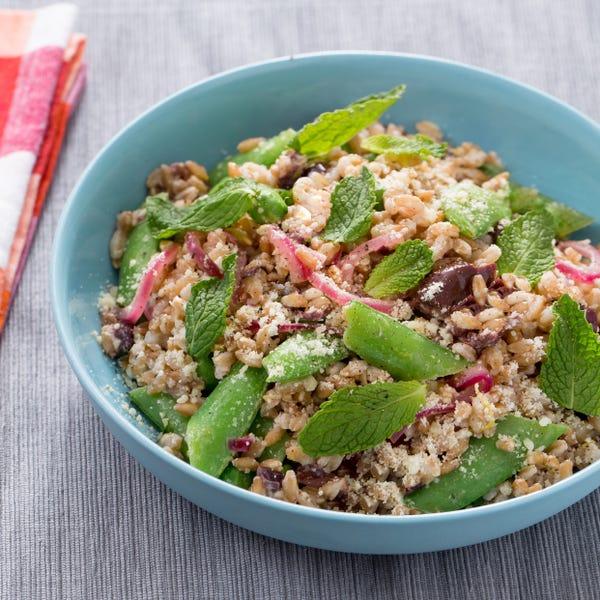 Sugar Snap Pea & Farro Salad with Pickled Onion & Kalamata Olives