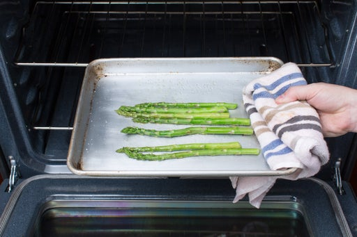 Roast the asparagus & make the dressing: