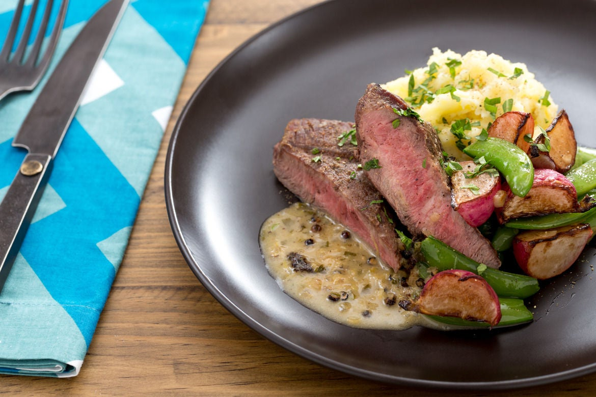 Seared Steaks & Mashed Potatoes With Saut�ed Radishes & Snap Peas Cook Time