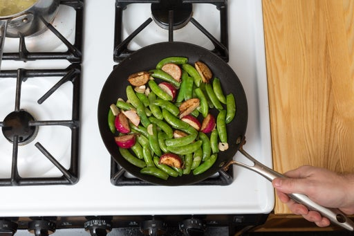 Cook the radishes & snap peas: