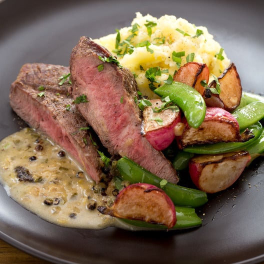 Seared Steaks & Mashed Potatoes with Sautéed Radishes & Snap Peas