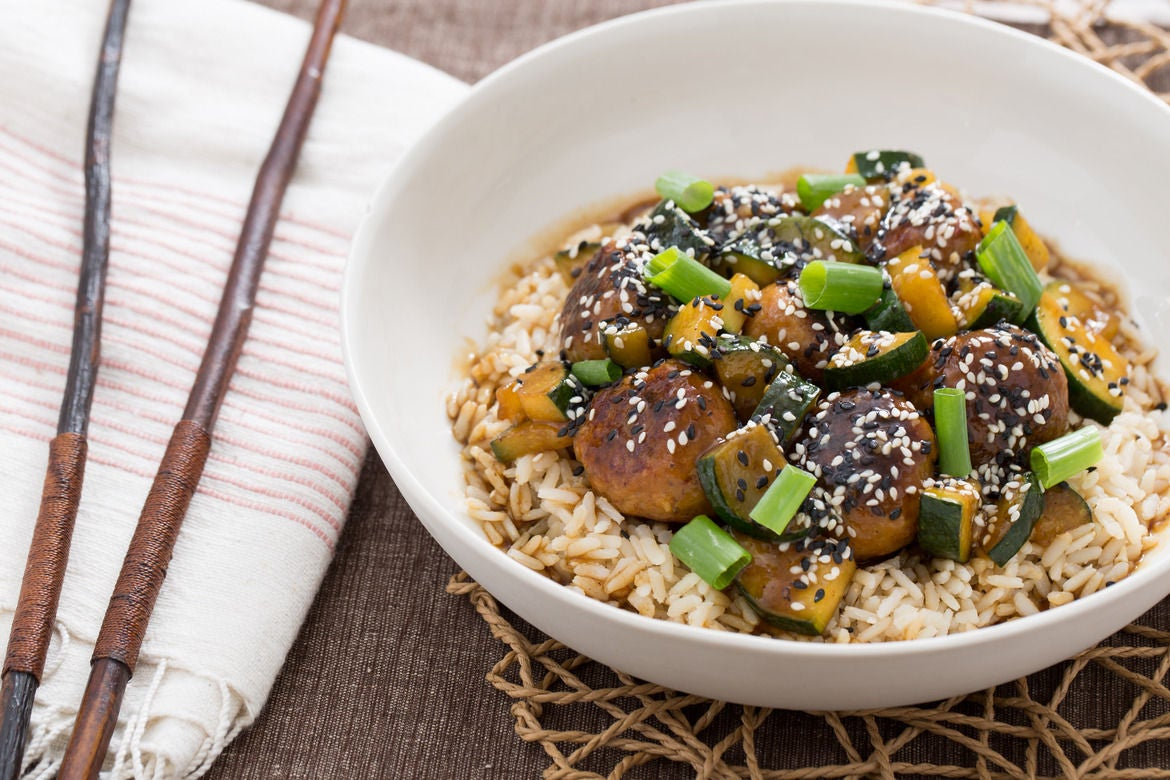 Hoisin-Glazed Chicken Meatballs with Zucchini & Brown Rice