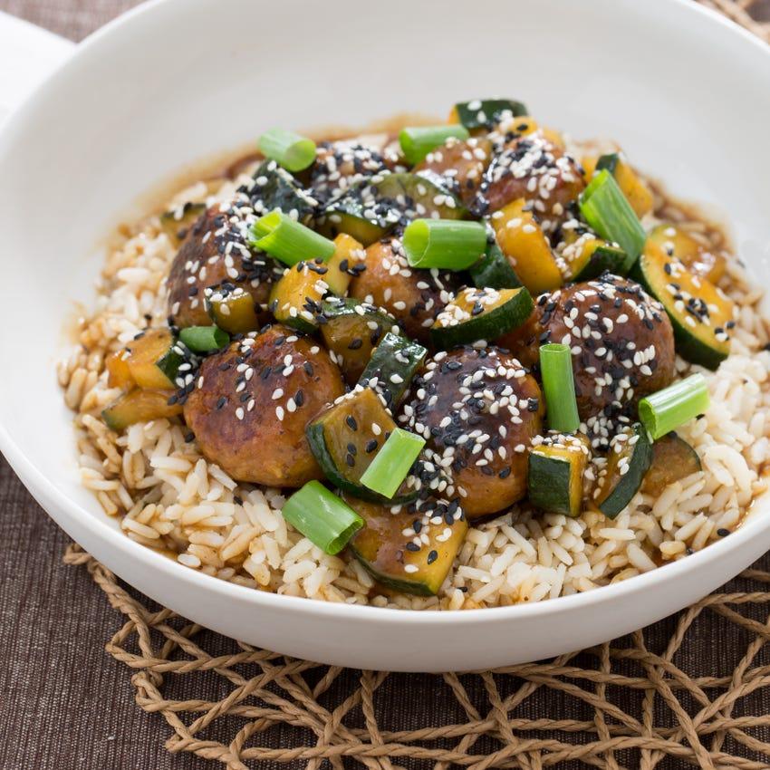 Hoisin-Glazed Chicken Meatballs with Zucchini & Brown Rice