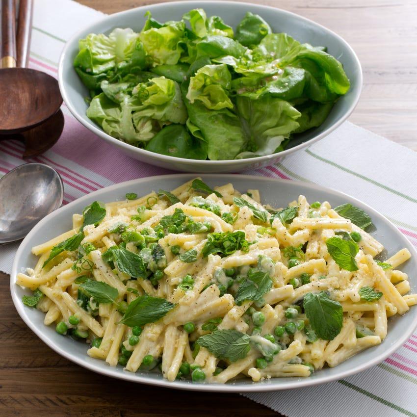 Spring Strozzapreti Pasta with Parmesan Cream Sauce & Butter Lettuce Salad