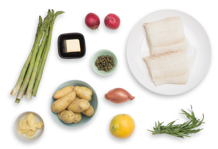 Seared Cod with Spring Vegetables & Lemon-Mustard Vinaigrette ingredients