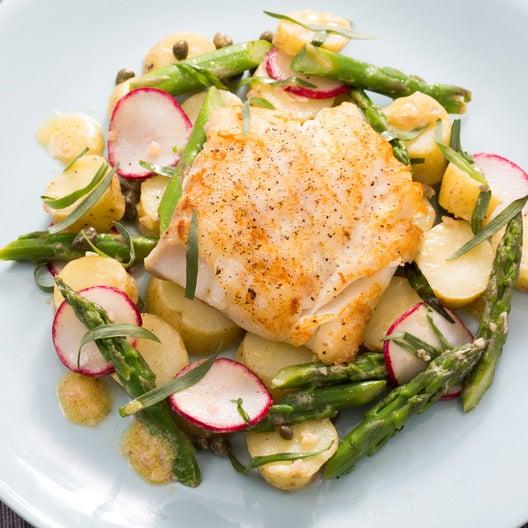 Seared Cod with Spring Vegetables & Lemon-Mustard Vinaigrette