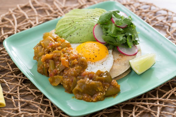 Recipe: Huevos Rancheros with Salsa Verde, Radishes & Avocado - Blue ...