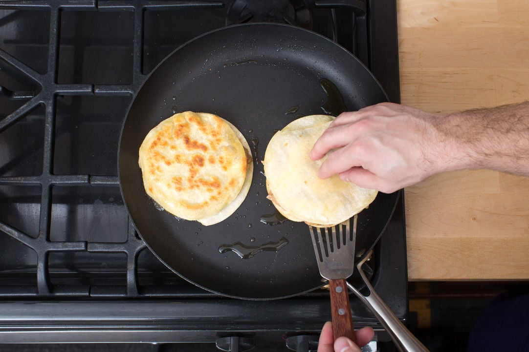 Cook the quesadillas: