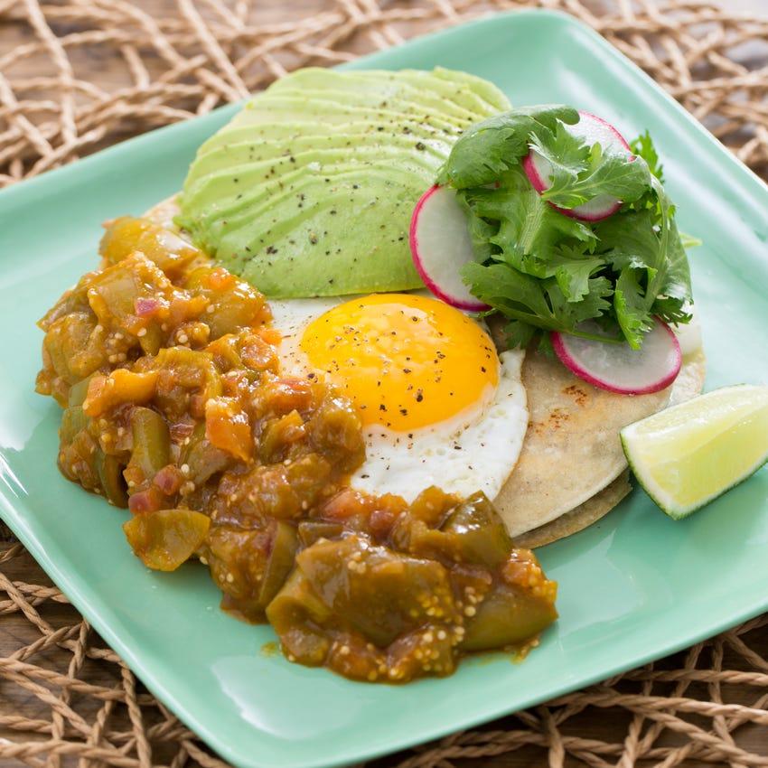 Huevos Rancheros with Salsa Verde, Radishes & Avocado