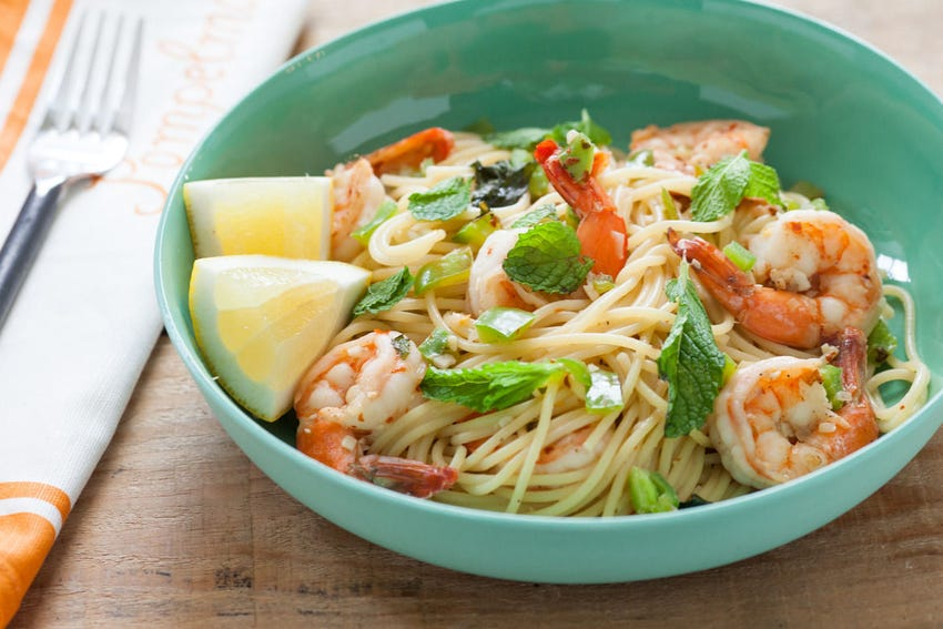 Shrimp Spaghettini with Chilis, Mint & Lemon