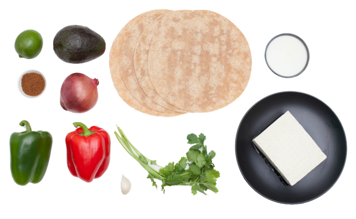 Tofu Fajitas with Fresh Guacamole & Whole Wheat Tortillas ingredients