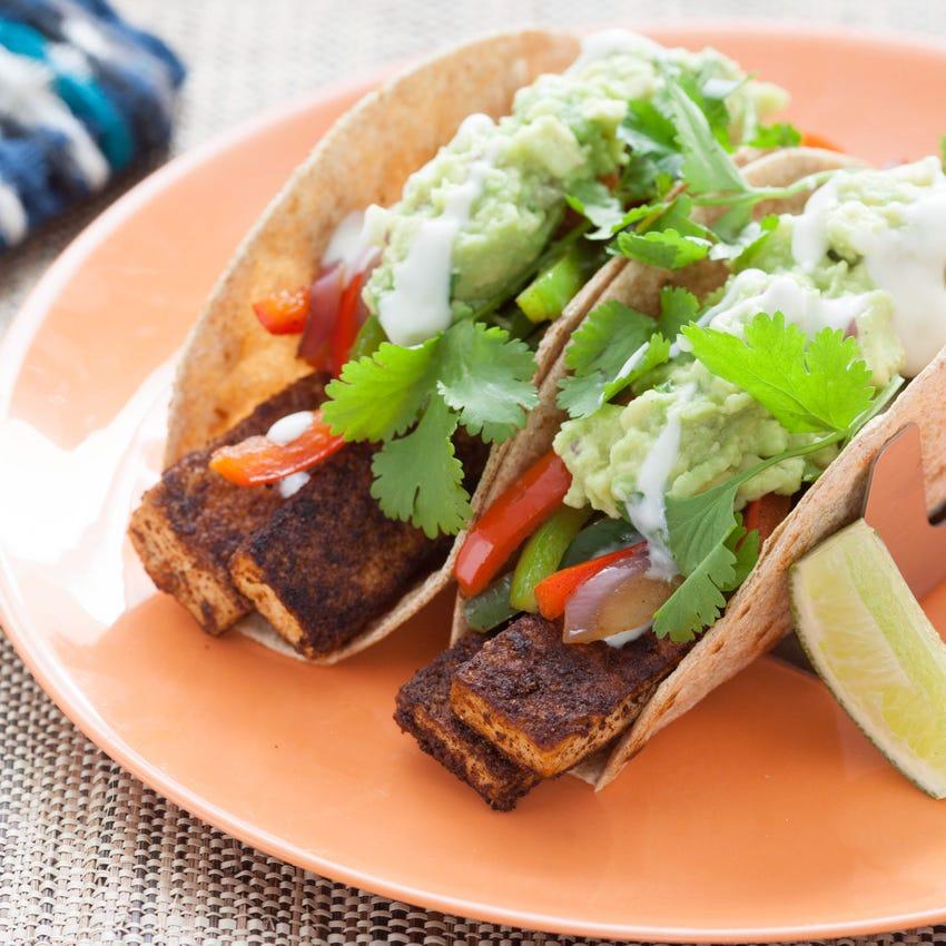 Tofu Fajitas with Fresh Guacamole & Whole Wheat Tortillas
