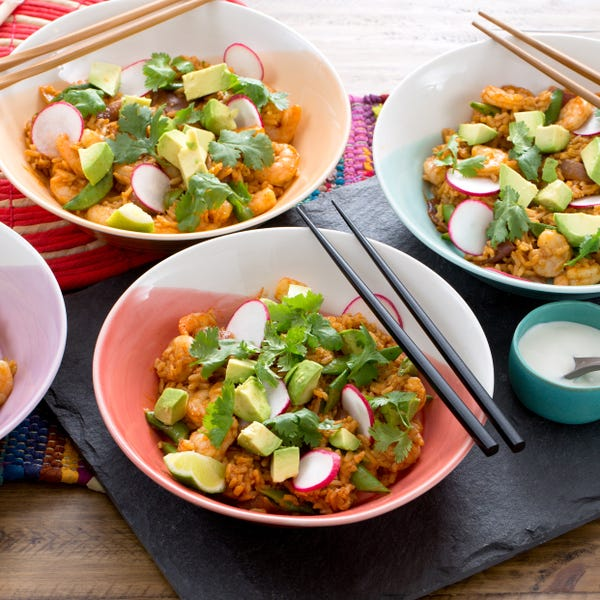 Mexican Shrimp Fried Rice with Radishes, Avocado & Sugar Snap Peas