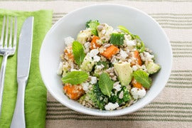 Hearty Sweet Potato, Broccoli & Quinoa Salad with Tahini-Lemon Dressing & Goat Cheese