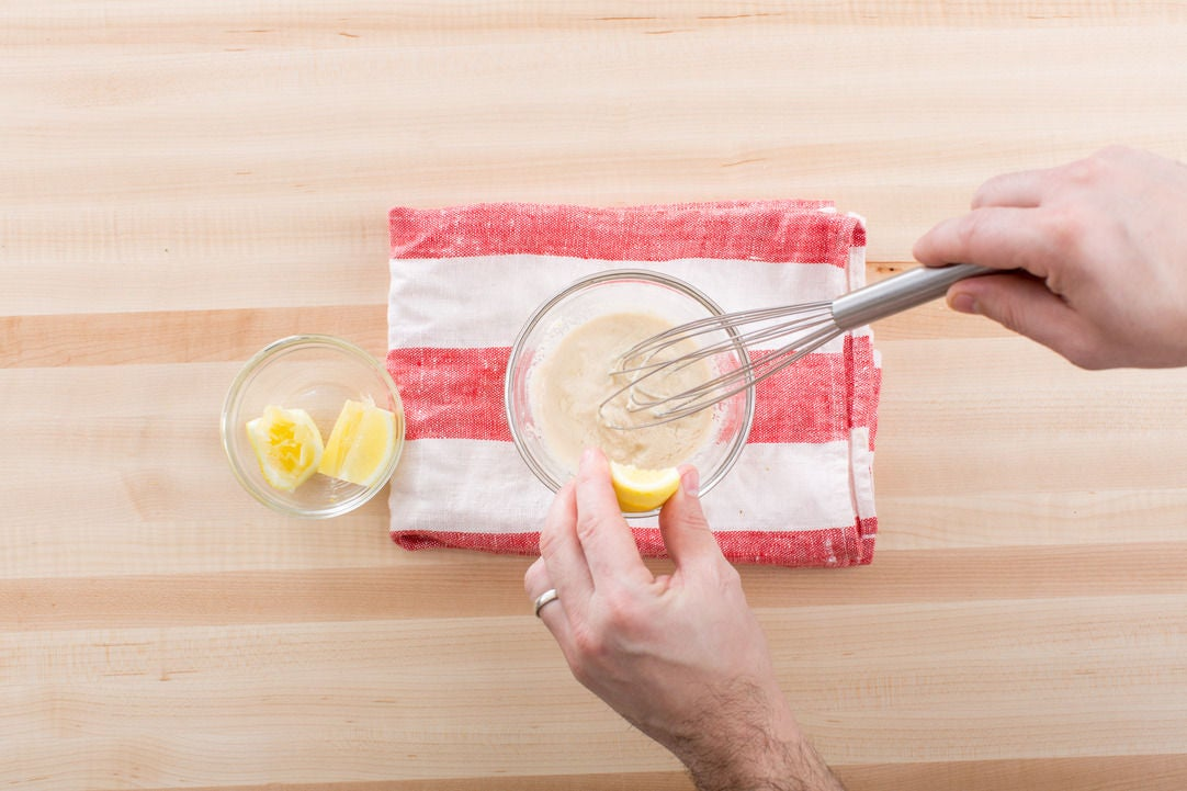 Make the tahini-lemon dressing: