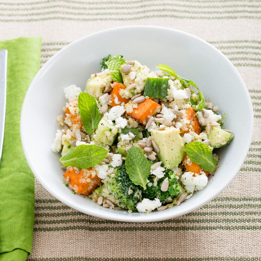 Hearty Sweet Potato, Broccoli & Quinoa Salad with Tahini-Lemon Dressing & Goat Cheese